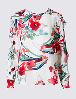 M&S Collection Floral Print Ruffle Split Sleeve Blouse