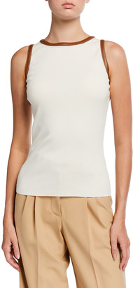 Ralph Lauren Collection Leather-Detail Sweater with Cut-In Shoulders