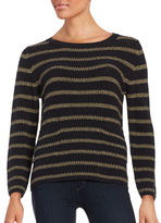 Max Mara Metallic Striped Knit Pullover