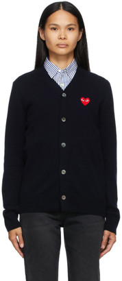 Comme des Garcons Navy Wool Heart Patch V-Neck Cardigan