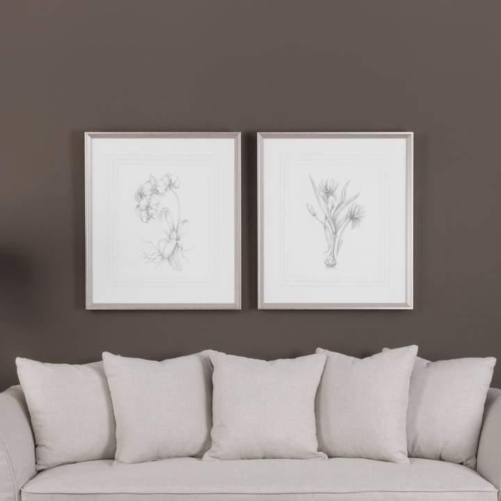 Three Posts 'Botanical Sketches' 2 Piece Framed Painting Print Set