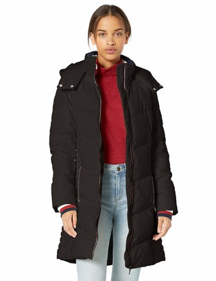 Tommy Hilfiger Women's Midlength Chevron Quilted Hooded Puffer Jacket