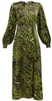 Ganni Tiger-print Silk-blend Satin Wrap Dress - Womens - Black Green