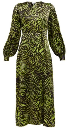 Ganni Tiger-print Silk-blend Satin Wrap Dress - Black Green