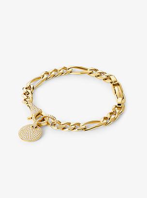 Michael Kors 14K Gold-Plated Sterling Silver Pave Disk Bracelet