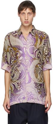 Dries Van Noten Gold and Purple Six Button Short Sleeve Shirt