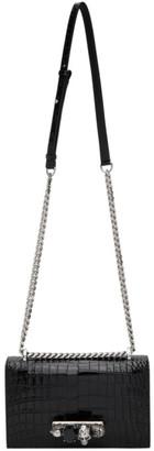 Alexander McQueen Black Croc Large Jewelled Satchel Bag