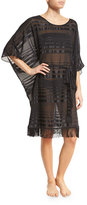 Gottex Regatta Fringe-Hem Striped Caftan Coverup