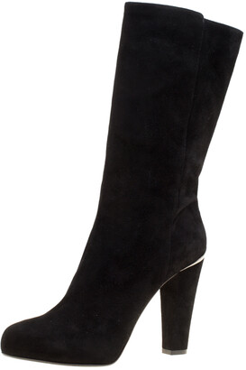 Le Silla Black Suede Block Heel Fur Lined Calf Length Boots Size 41