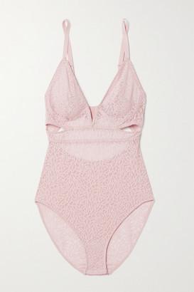 ELSE Zoe Cutout Stretch-mesh Bodysuit - Pastel pink