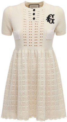 Gucci Embroidered Wool Blend Knit Mini Dress