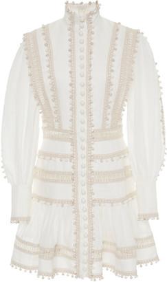 Zimmermann Embroidered Button-Detailed Ramie Mini Dress