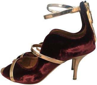 Malone Souliers Maureen Burgundy Velvet Heels