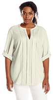 Calvin Klein Women's Plus-Size Roll-Sleeve Top With Embroidery