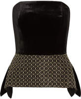 Roland Mouret Syston Strapless Embroidered Velvet And Cloqué Peplum Top - Black