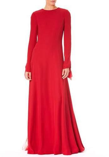 Carolina Herrera Jewel-Neck V-Back Long-Sleeve A-Line Silk Evening Gown