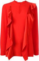 Givenchy ruffle trim keyhole blouse - women - Silk - 36