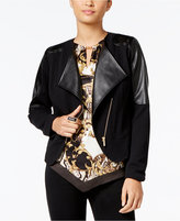 Thalia Sodi Faux-Leather-Trim Moto Jacket, Only at Macy's