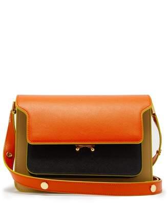 Marni Trunk Medium Saffiano Leather Shoulder Bag - Womens - Orange Multi