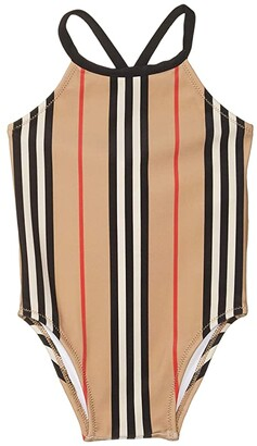 BURBERRY KIDS Crina Stripe Swimsuit (Infant/Toddler) (Archive Beige IP Stripe) Girl's Swimsuits One Piece