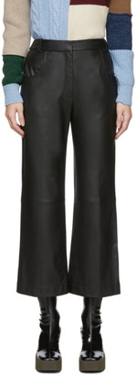 ALEXACHUNG Black Leather Cropped Trousers