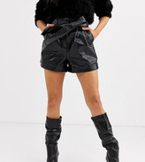 Topshop Petite faux leather shorts with tie waist in black