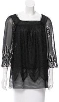 Anna Sui Guipure Lace Sheer Top