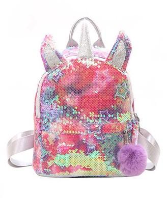 Ella & Elly Women's Backpacks Rainbow - Pink Sequin Stars Unicorn Backpack