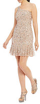 Adrianna Papell One Shoulder Beaded Dress