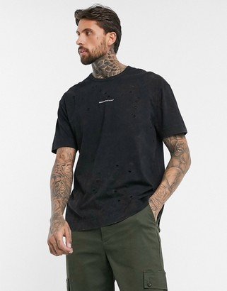 Good For Nothing oversized acid wash t-shirt in black with logo