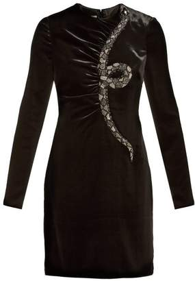 Valentino Snake-embroidered Beaded Velvet Mini Dress - Womens - Black