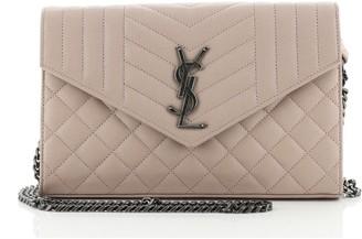 Saint Laurent Classic Monogram Chain Wallet Mixed Matelasse Leather Medium