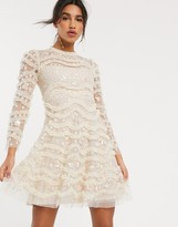 Needle & Thread embroidered long sleeve mini dress in cream
