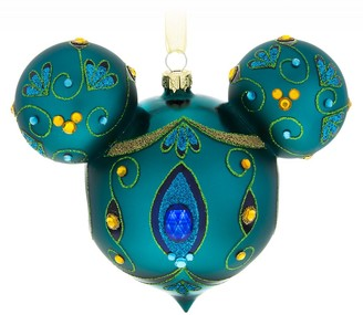 Disney Mickey Mouse Icon Glass Ornament Peacock