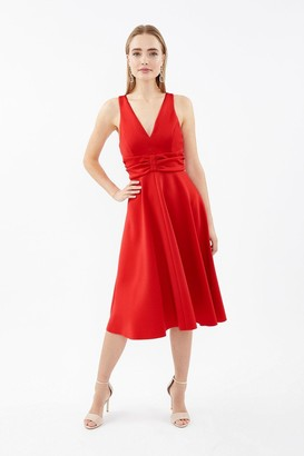 Coast Ruched Front Full Scuba Midi Dress