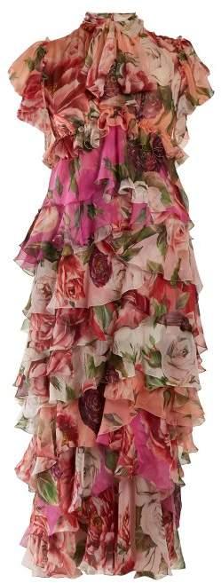 Dolce & Gabbana Peony And Rose Print Tiered Silk Chiffon Dress - Womens - Pink Multi