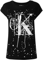 Calvin Klein Jeans splattered logo print T-shirt - women - Cotton - XS
