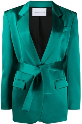 Hebe Studio Tied-Waist Fitted Blazer