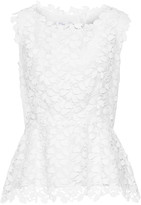 Oscar de la Renta Cotton-blend guipure lace peplum top