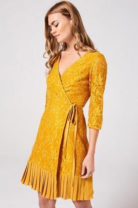 Little Mistress Penelope Spice Gold Lace Wrap Dress
