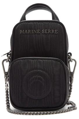 Marine Serre Leather-trimmed Moire Cross-body Bag - Black