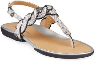 Neiman Marcus Waneta Snake-Print Thong Sandal