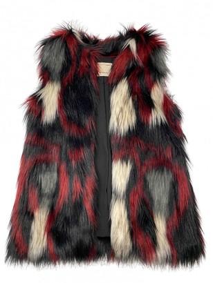 Pinko Burgundy Faux fur Coat for Women