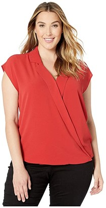 Vince Camuto Plus Size Extended Shoulder Notch Collar Wrap Front Blouse (Burnt Amber) Women's Blouse