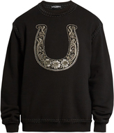 Dolce & Gabbana Horseshoe-embroidered cotton-blend sweatshirt