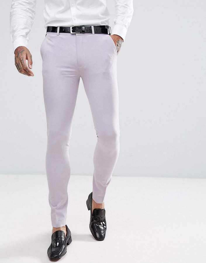 Asos Design Wedding Super Skinny Tuxedo Suit Pants In Dusky Lilac