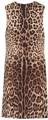 Dolce & Gabbana Leopard-print silk-cady minidress