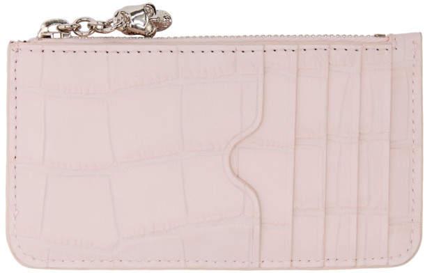 Alexander McQueen Pink Croc Zip Card Holder