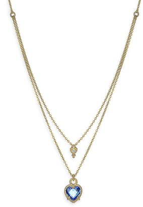 Judith Ripka Heart Bezel Stone Goldplated Sterling Silver Double Chain Necklace