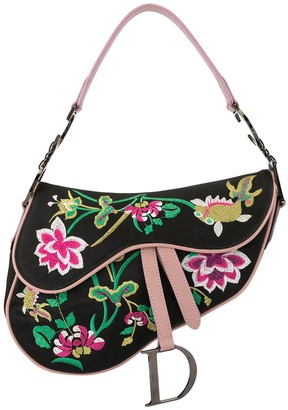 Christian Dior Pre-Owned 2000s floral embroidery Saddle shoulder bag